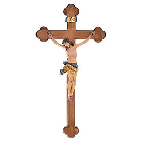 Trefoil crucifix, in coloured Valgardena wood s1