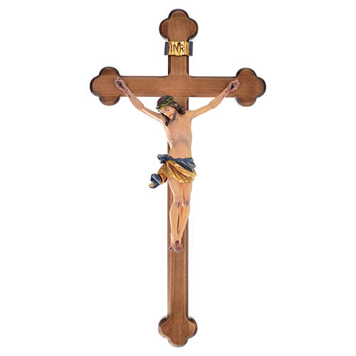 Trefoil crucifix, in coloured Valgardena wood 1