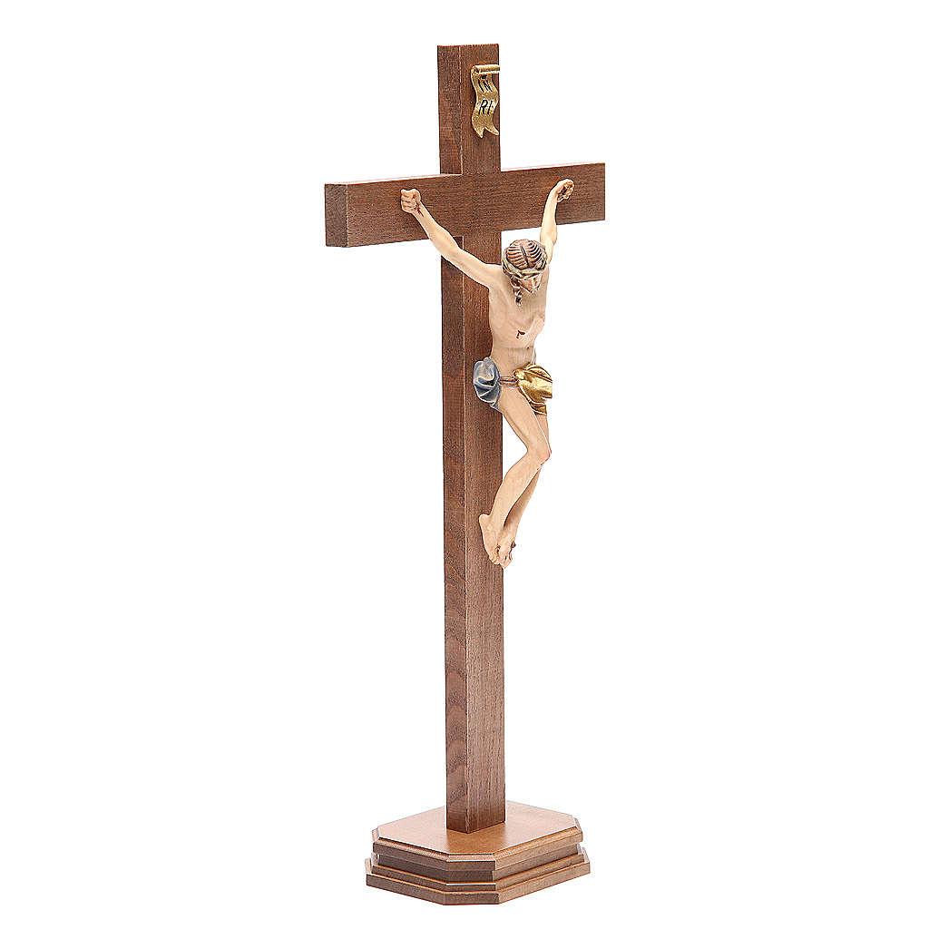 Crocefisso con base croce dritta legno Valgardena mod. Corpus 4