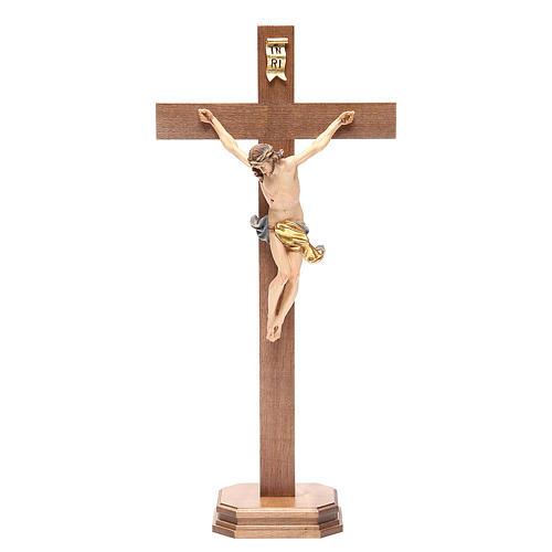 Crocefisso con base croce dritta legno Valgardena mod. Corpus 1