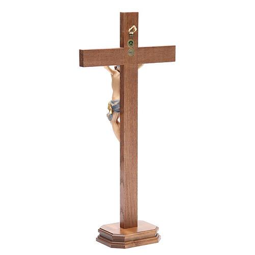 Crocefisso con base croce dritta legno Valgardena mod. Corpus 3