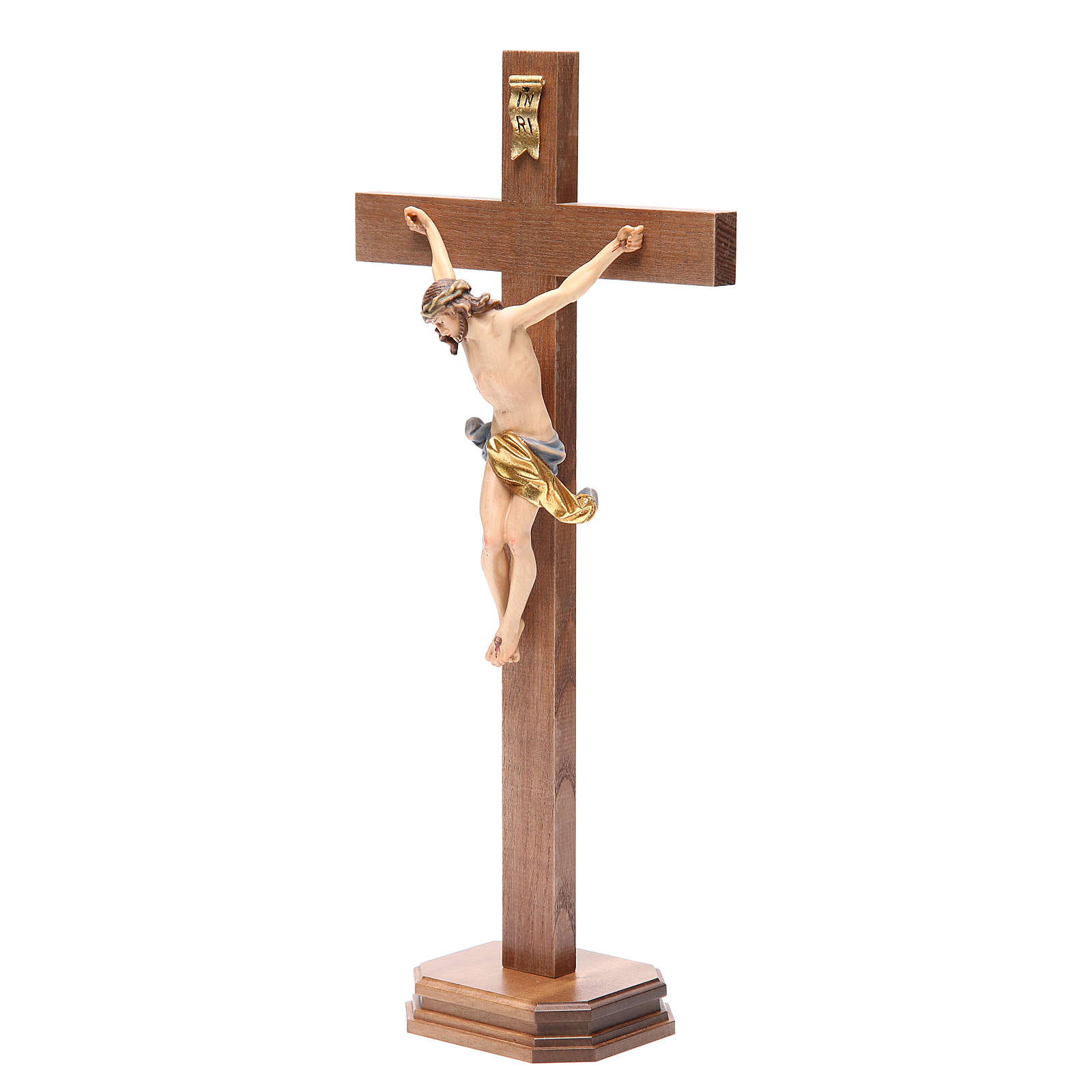 Crucifix with base, straight cross Valgardena wood Corpus model 4
