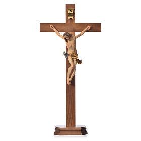 Crucifix with base, straight cross Valgardena wood Corpus model s5