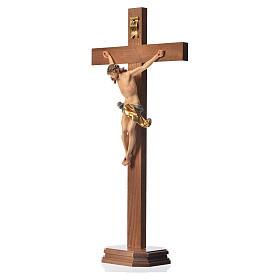 Crucifix with base, straight cross Valgardena wood Corpus model s6
