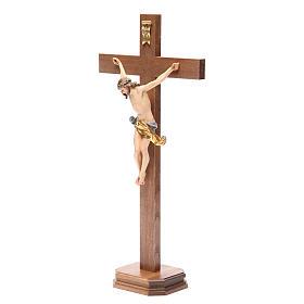 Crucifix with base, straight cross Valgardena wood Corpus model s10