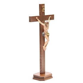 Crucifix with base, straight cross Valgardena wood Corpus model s12