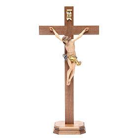 Crucifix with base, straight cross Valgardena wood Corpus model s1