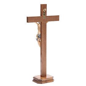 Crucifix with base, straight cross Valgardena wood Corpus model s3