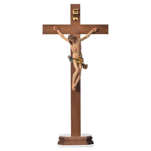 Crucifix with base, straight cross Valgardena wood Corpus model 5