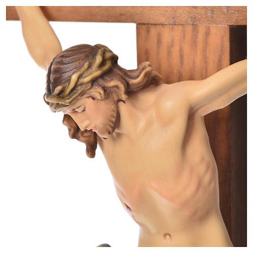 Crucifix with base, straight cross Valgardena wood Corpus model 7