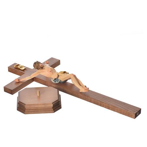 Crucifix with base, straight cross Valgardena wood Corpus model 8