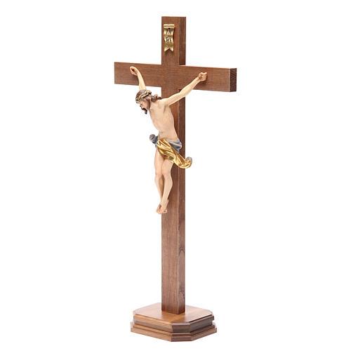 Crucifix with base, straight cross Valgardena wood Corpus model 10