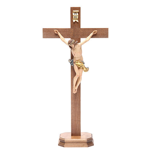 Crucifix with base, straight cross Valgardena wood Corpus model 1