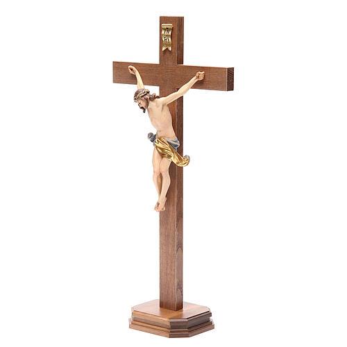 Crucifix with base, straight cross Valgardena wood Corpus model 2