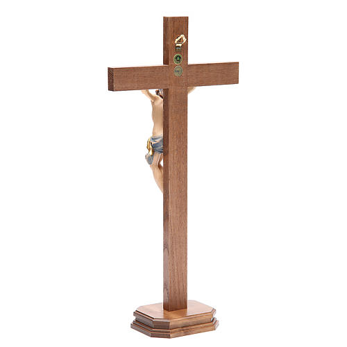 Crucifix with base, straight cross Valgardena wood Corpus model 3