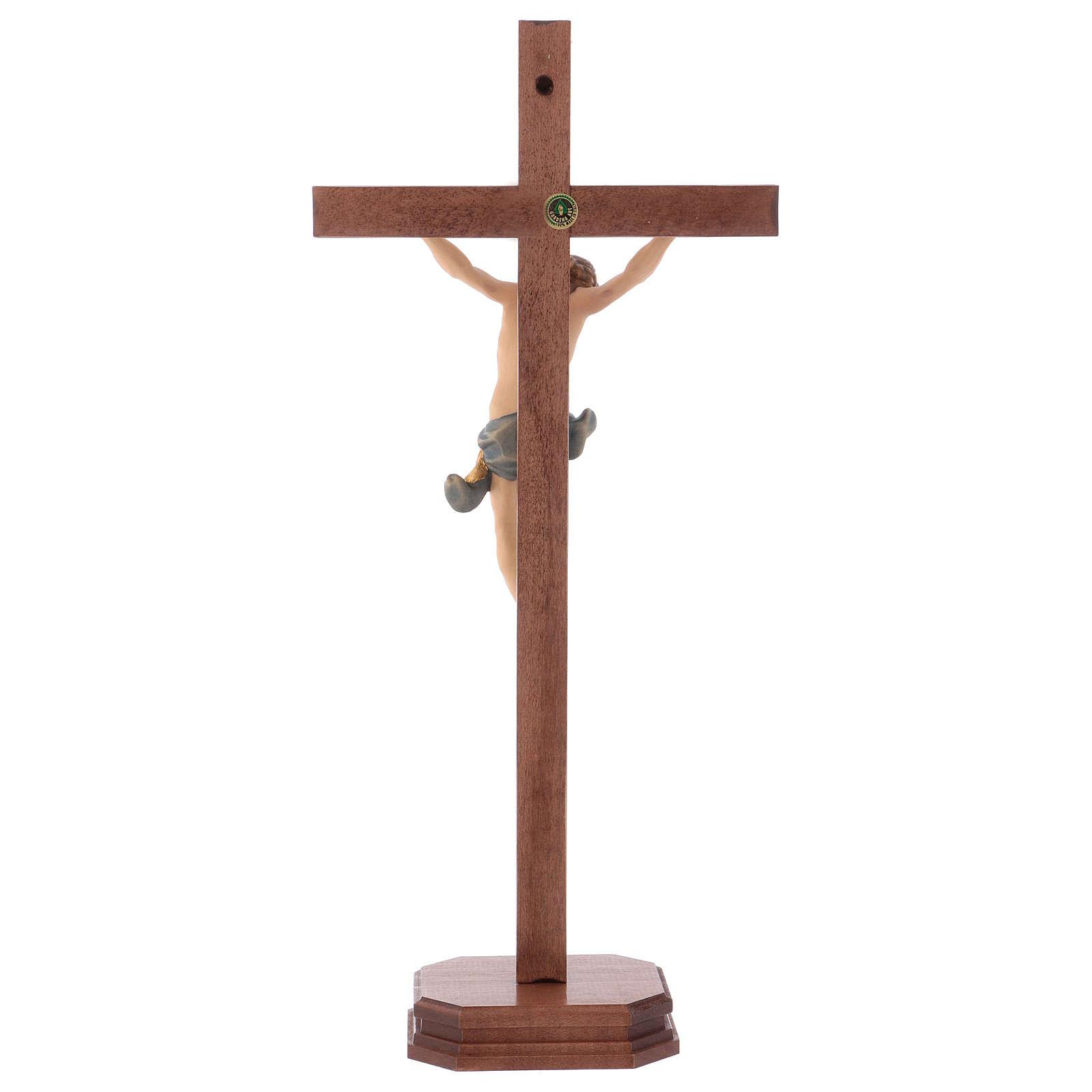 Crucifix droit sculpté avec base bois Valgardena 4