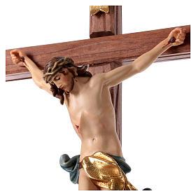 Crocefisso con base croce dritta scolpita legno Valgardena s2