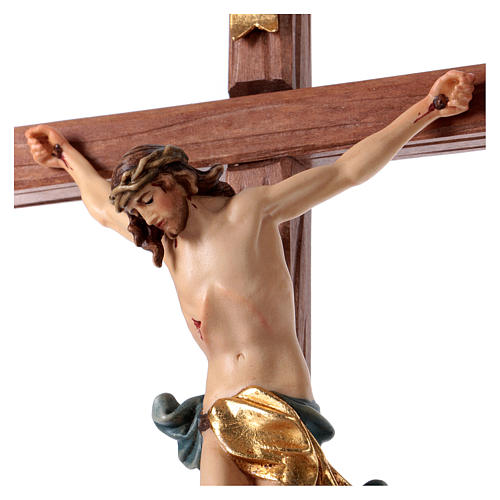 Crocefisso con base croce dritta scolpita legno Valgardena 2