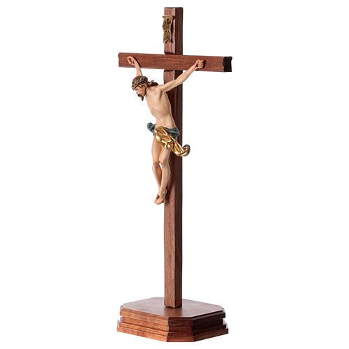 Crocefisso con base croce dritta scolpita legno Valgardena 3