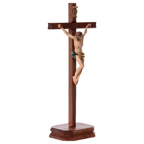 Crocefisso con base croce dritta scolpita legno Valgardena 4