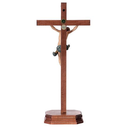 Crocefisso con base croce dritta scolpita legno Valgardena 5