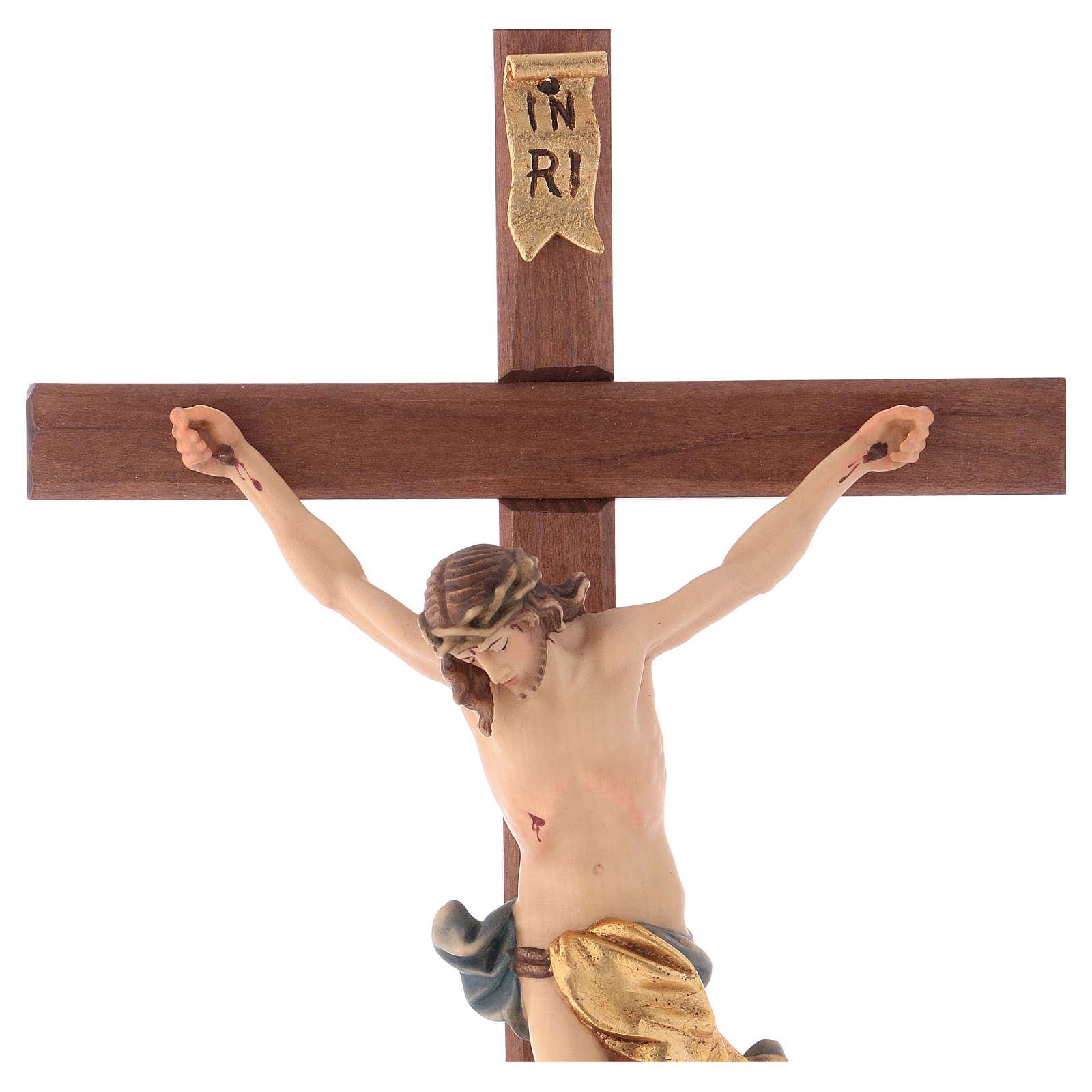Crucifixo com base cruz recta esculpida madeira Val Gardena 4