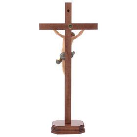 Crucifixo com base cruz recta esculpida madeira Val Gardena s5