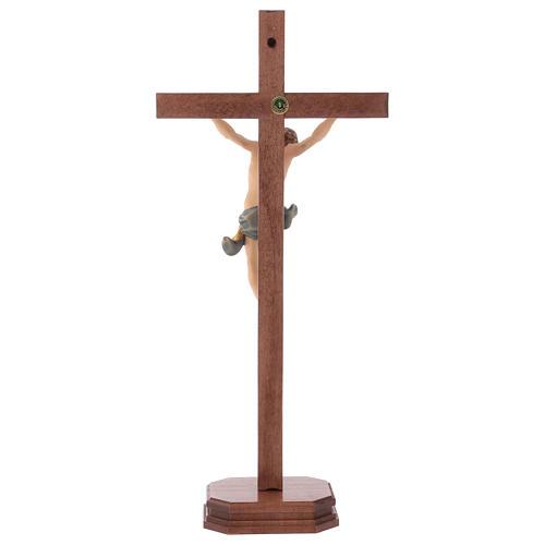 Crucifixo com base cruz recta esculpida madeira Val Gardena 5