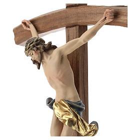 Crucifijo con base cruz curva madera Valgardena coloreada s2