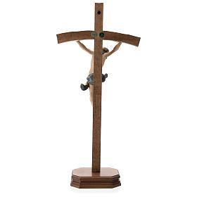 Crucifijo con base cruz curva madera Valgardena coloreada s5