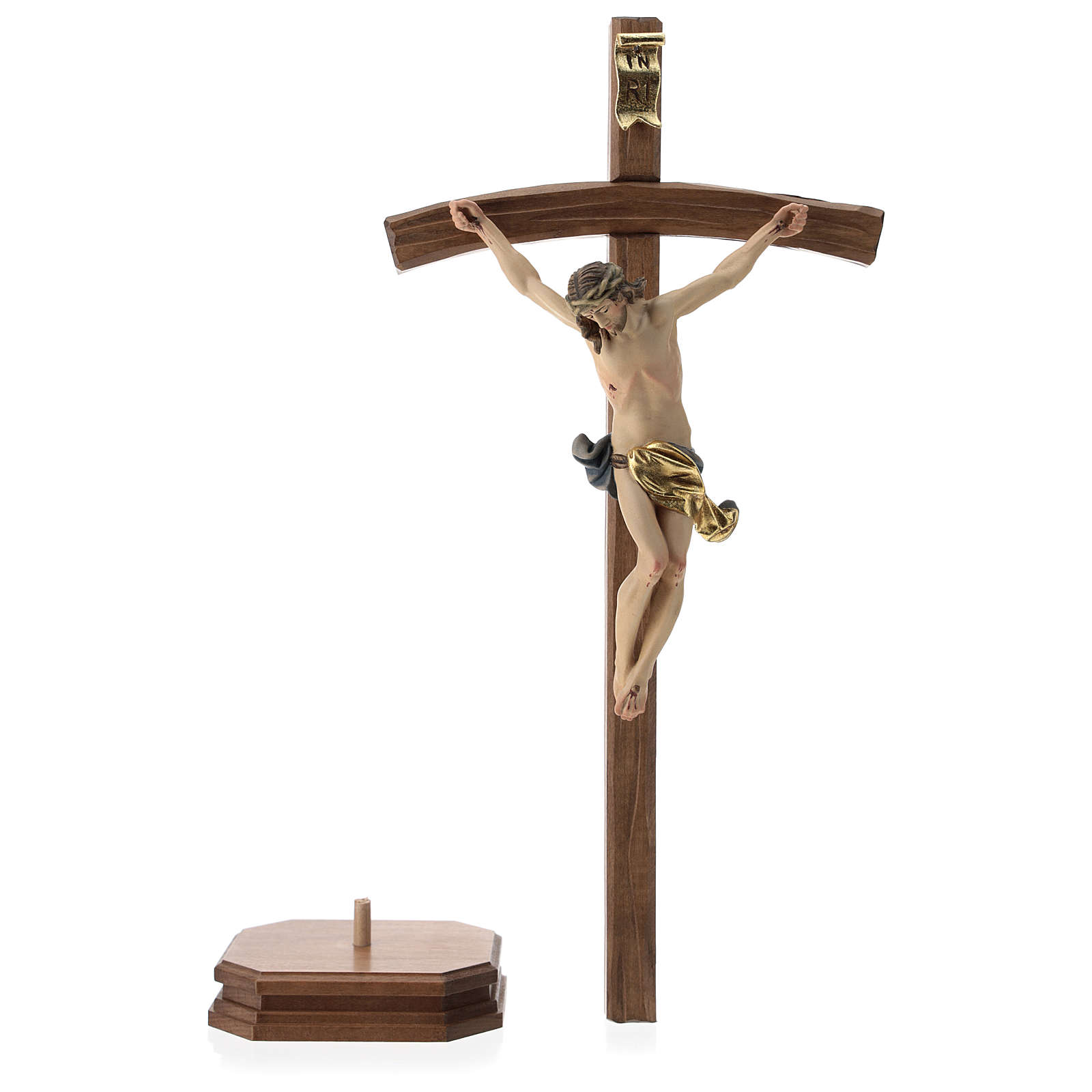 Table crucifix with base, curved cross in coloured Valgardena wo 4