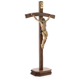 Table crucifix with base, curved cross in coloured Valgardena wo s4