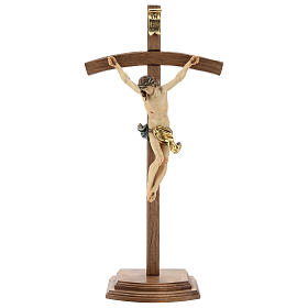Table crucifix with base, curved cross in coloured Valgardena wo s1