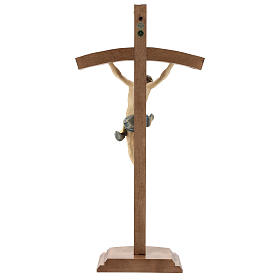 Table crucifix with base, curved cross in coloured Valgardena wo s5