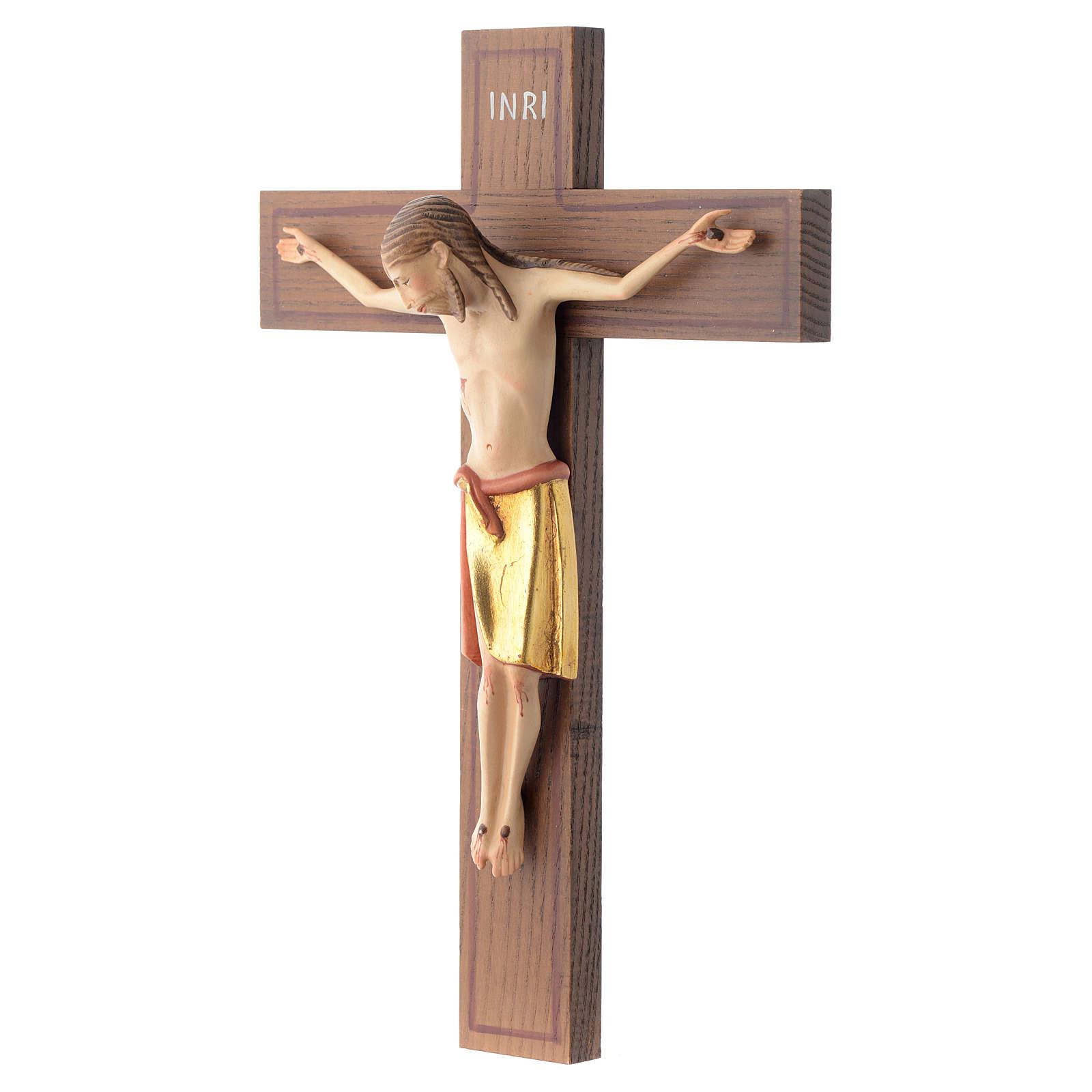 Crocifisso stile romanico 25 cm legno Valgardena 4