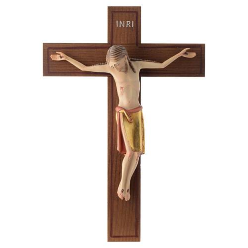 Crocifisso stile romanico 25 cm legno Valgardena 1