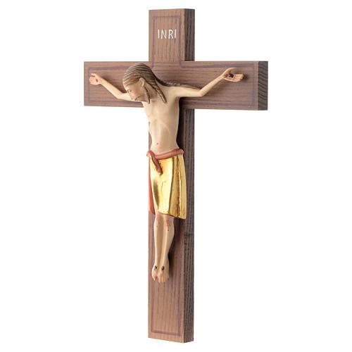 Crocifisso stile romanico 25 cm legno Valgardena 2
