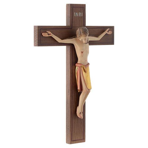 Crocifisso stile romanico 25 cm legno Valgardena 3