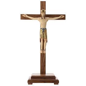 Crocefisso di Altenstadt con base 52 cm legno Valgardena s1