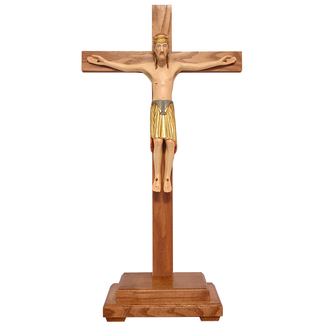 Altenstadt crucifix with base, 52cm in Valgardena wood 4