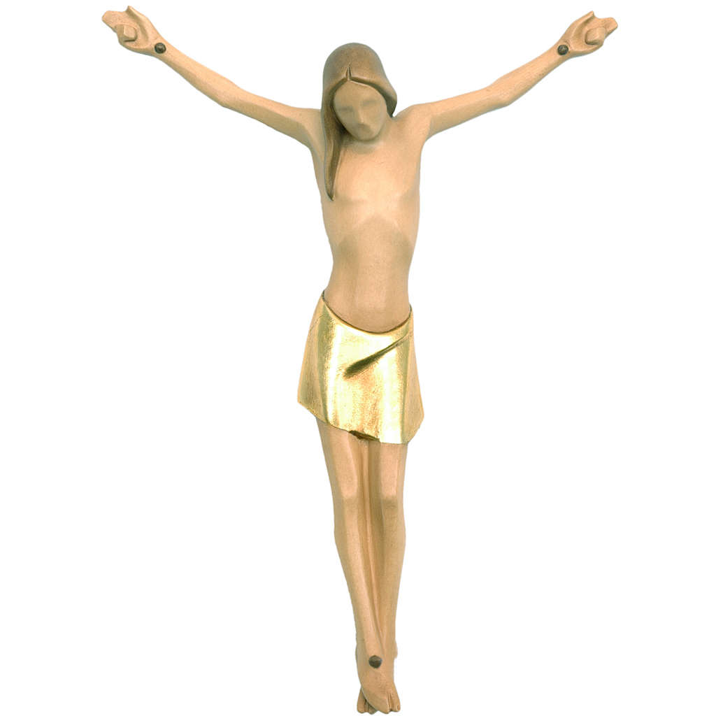 Stylised body of Christ in coloured Valgardena wood 4