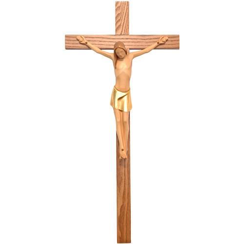 Crocifisso corpo stilizzato legno Valgardena colorato 1