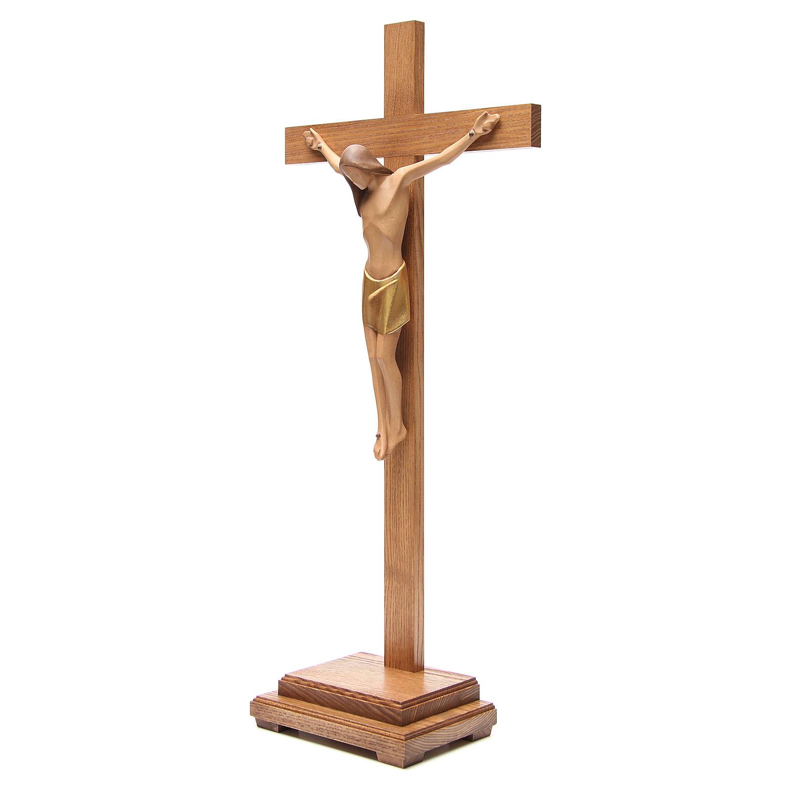 Crocefisso stilizzato con base legno Valgardena 4
