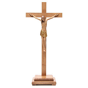 Crocefisso stilizzato con base legno Valgardena s1