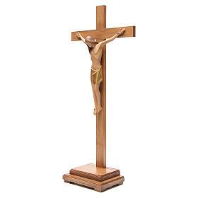 Crocefisso stilizzato con base legno Valgardena s2