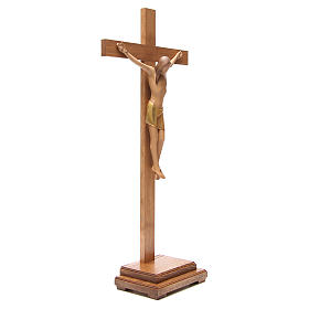 Crocefisso stilizzato con base legno Valgardena s4