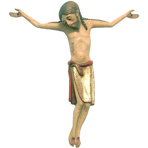 Corpo di Cristo 47 cm romanico legno Valgardena Antico Gold 1