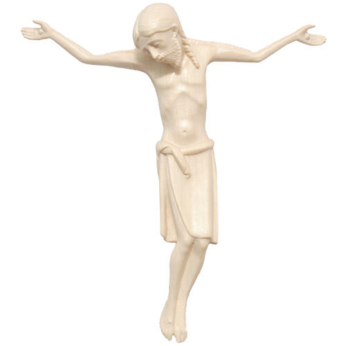 Body of Christ in Romanesque style, Valgardena wood, natural wax 1