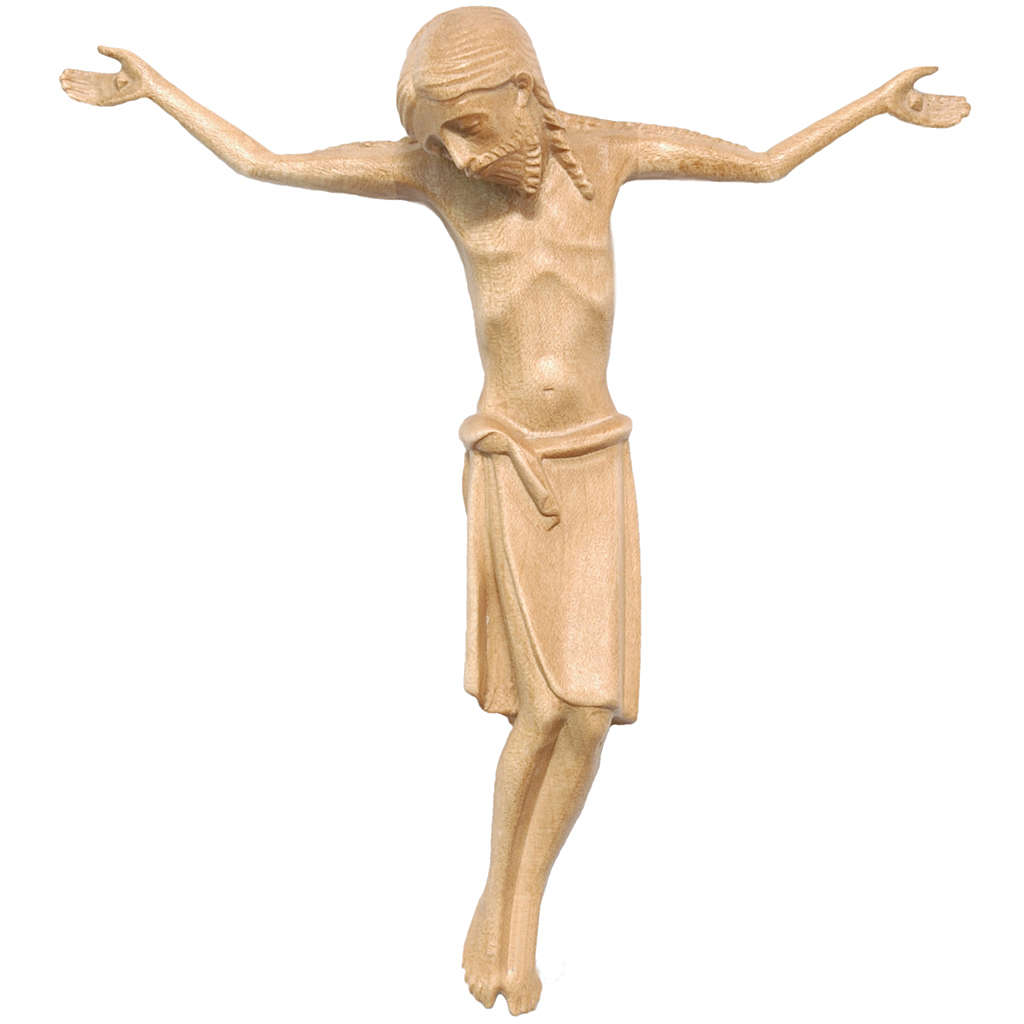 Body of Christ in Romanesque style, Valgardena wood, patinated 4