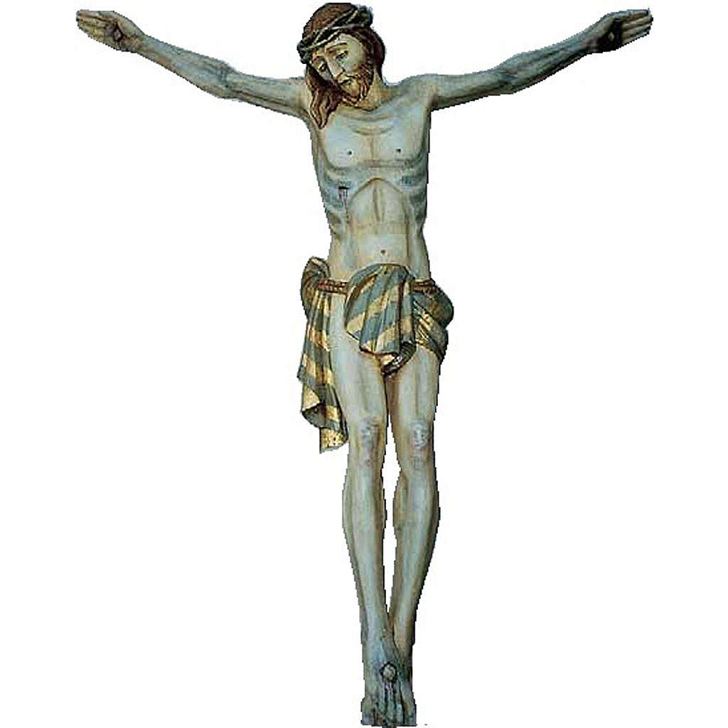 Body of Christ in painted wood 120cm 4